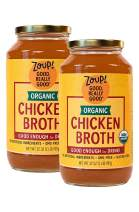 Organic Chicken Broth by Zoup! – Gluten Free, Non GMO, Fat Free Organic Chicken Broth - Great for Stock, Bouillon, Soup Base or to Drink, 2-pack of 31 oz Jars