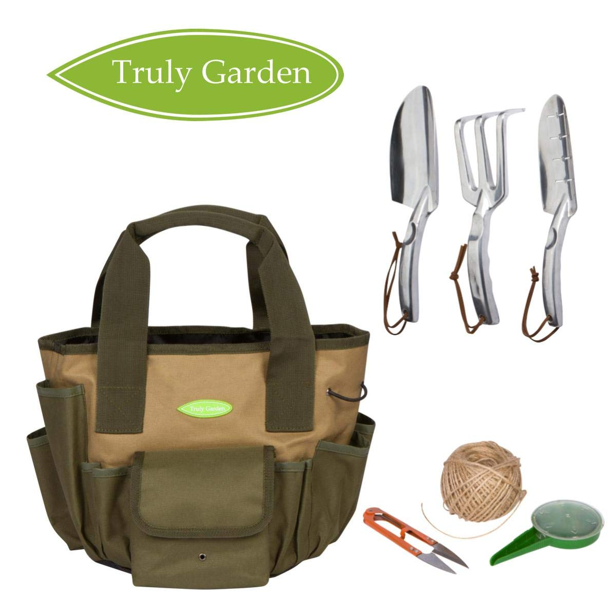 Truly Garden 2 Garden Tote and Gallon Bucket Organizer with Garden Tools. This makes the perfect Gardening Gift. It includes twine, scissors, seed dispenser, and 3 tough garden tools
