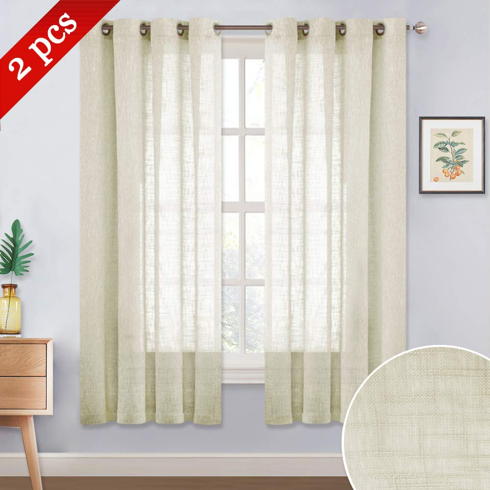 """NICETOWN Linen Look Sheer Decoration - Ring Top Translucent Linen Textured Voile Curtains Drapes Panels for Bedroom/Nursery/Kids Room (Beige, 52"""" Wide by 63"""" Long, 2 Pieces)"""