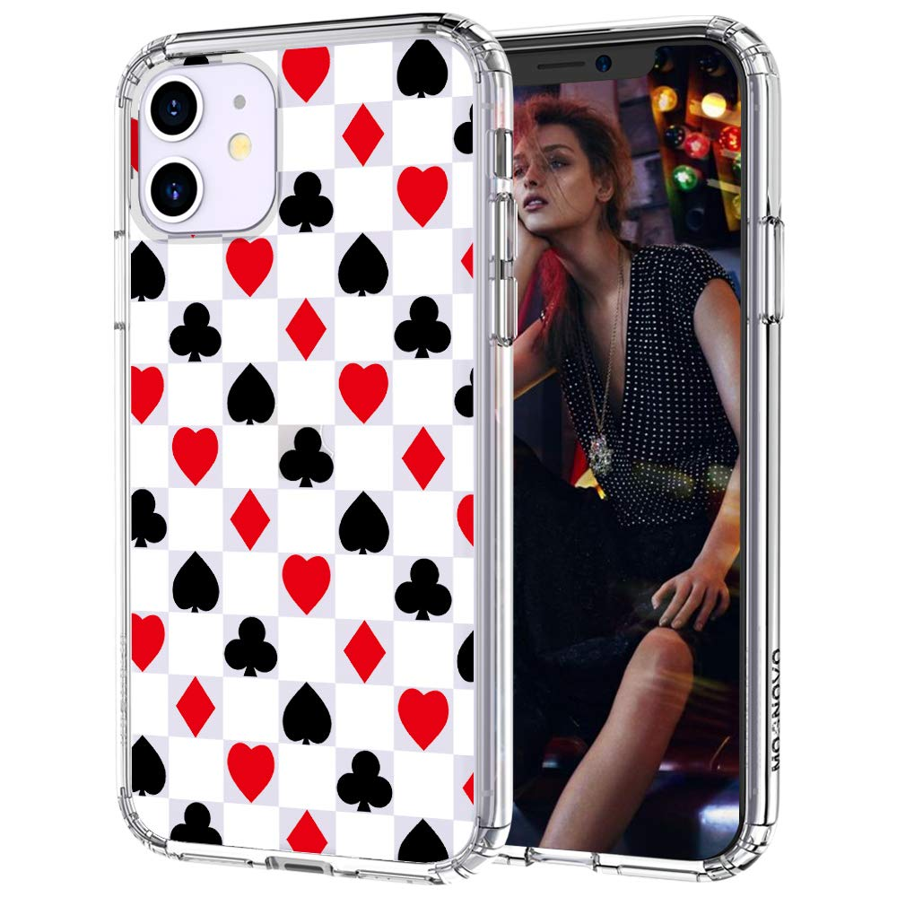 MOSNOVO iPhone 11 Case, Spades Hearts Diamonds Clubs Pattern Printed Clear Design Transparent Plastic Hard Back Case with TPU Bumper Protective Case Cover for iPhone 11