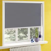 Keego Classic Blackout Shades,Window Shades European Simple Style with Back in White to Waterproof,Oil Resistant for Privacy Bathroom and Kitchen[Gray 100% Blackout,W35xH58(Inch)]