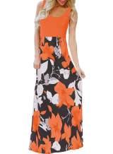 Bluetime Women's Summer Boho Sleeveless Floral Print Tank Long Maxi Dress (S-3XL)