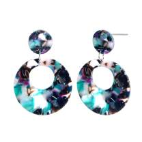 Round Acrylic Resin Earrings - Mottled Bohemian Statement Drop Earrings for Party Prom Holiday Vacation Everyday Costume Jewelry