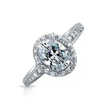 2CT Classic Oval Shape Promise Engagement Ring Bezel Set Halo Thin Band Cubic Zirconia Rose Gold and 925 Sterling Silver