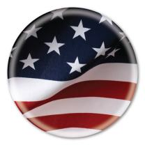 """2.25"""" American Flag Button with Magnetic Badge Back"""