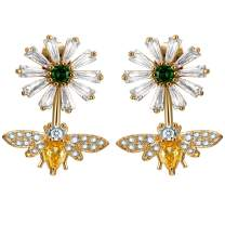 Bee Dangle Earring 18K Gold Plated Tiny Rhinestone Drop Cute Flower Stud Earrings for Women Girls