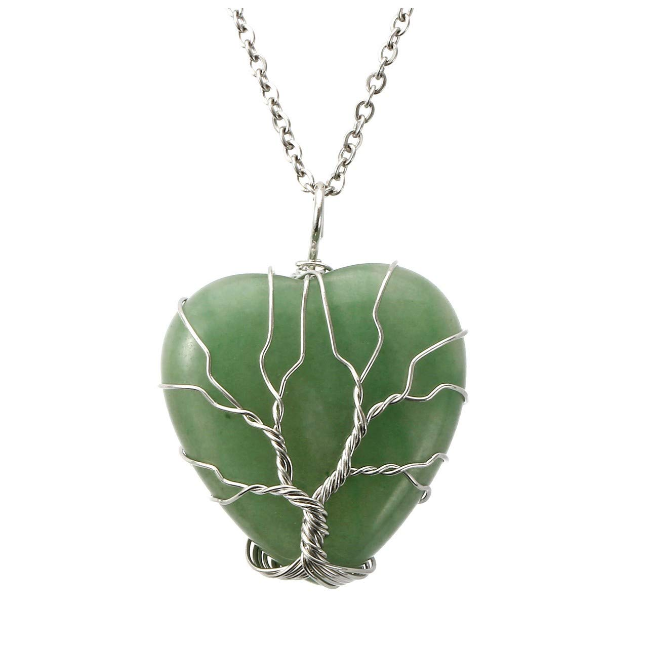 Top Plaza Natural Green Aventurine Healing Crystals Necklace Silver Tree of Life Wire Wrapped Heart Shape Stone Pendant for Womens Girls Ladies