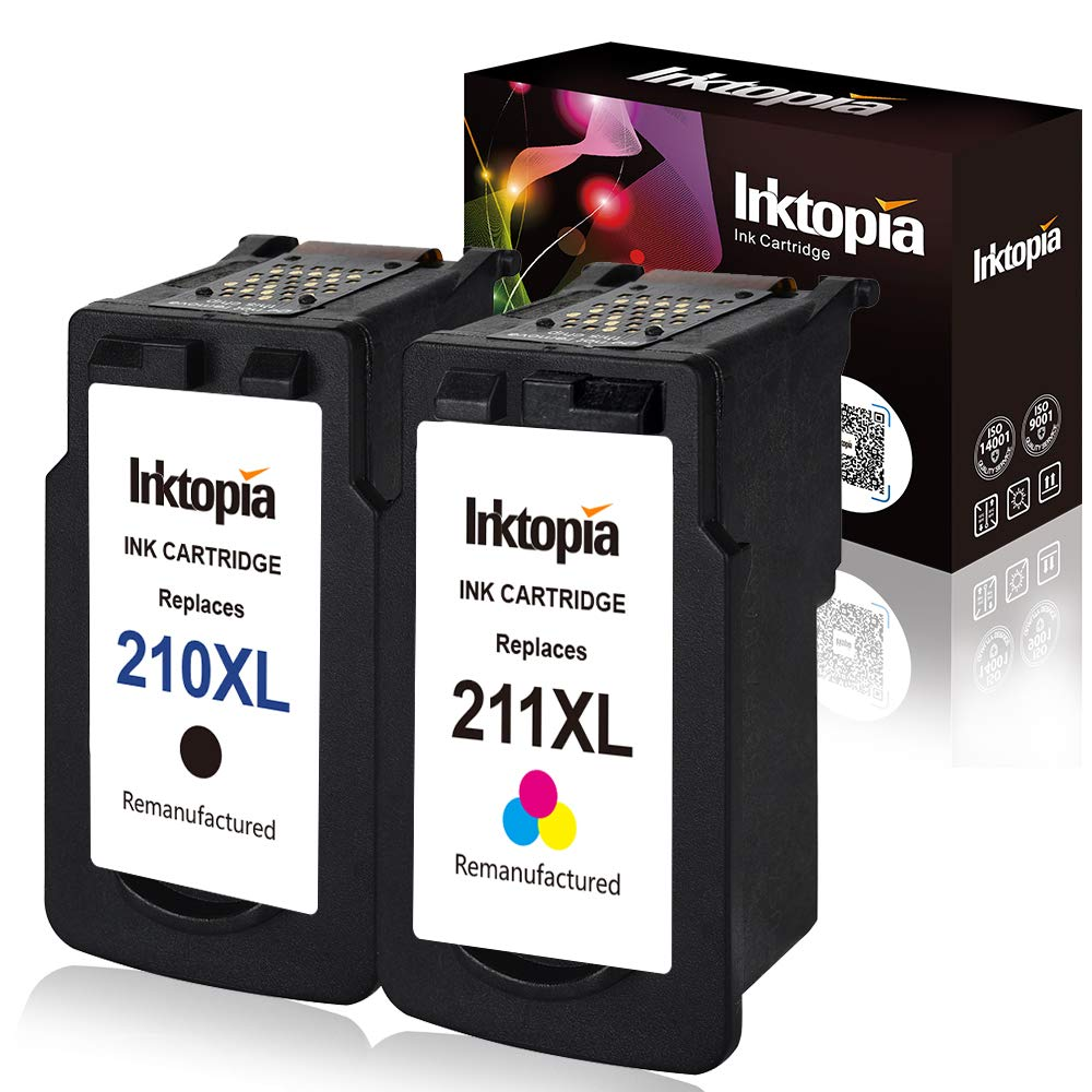 Inktopia Remanufactured Ink Cartridge Replacement for Canon PG 210XL CL211XL (1 Black,1 Color) Comptaible with Canon IP2700 IP2702 MP240 MP250 MP270 MP280 MP490 MP495 MP499 MX320 MX330 MX340 MX350 ect