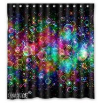 FUNNY KIDS' HOME Colorful Bubbles Beautiful Rainbow Abstract- Personalize Custom Bathroom Shower Curtain Waterproof Polyester Fabric 66(w) x72(h) Rings Included