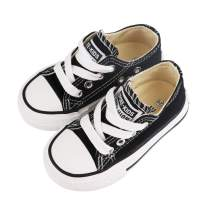 Toddler Little Kid Boy and Girl Classic Adjustable Lace up Canvas Sneaker