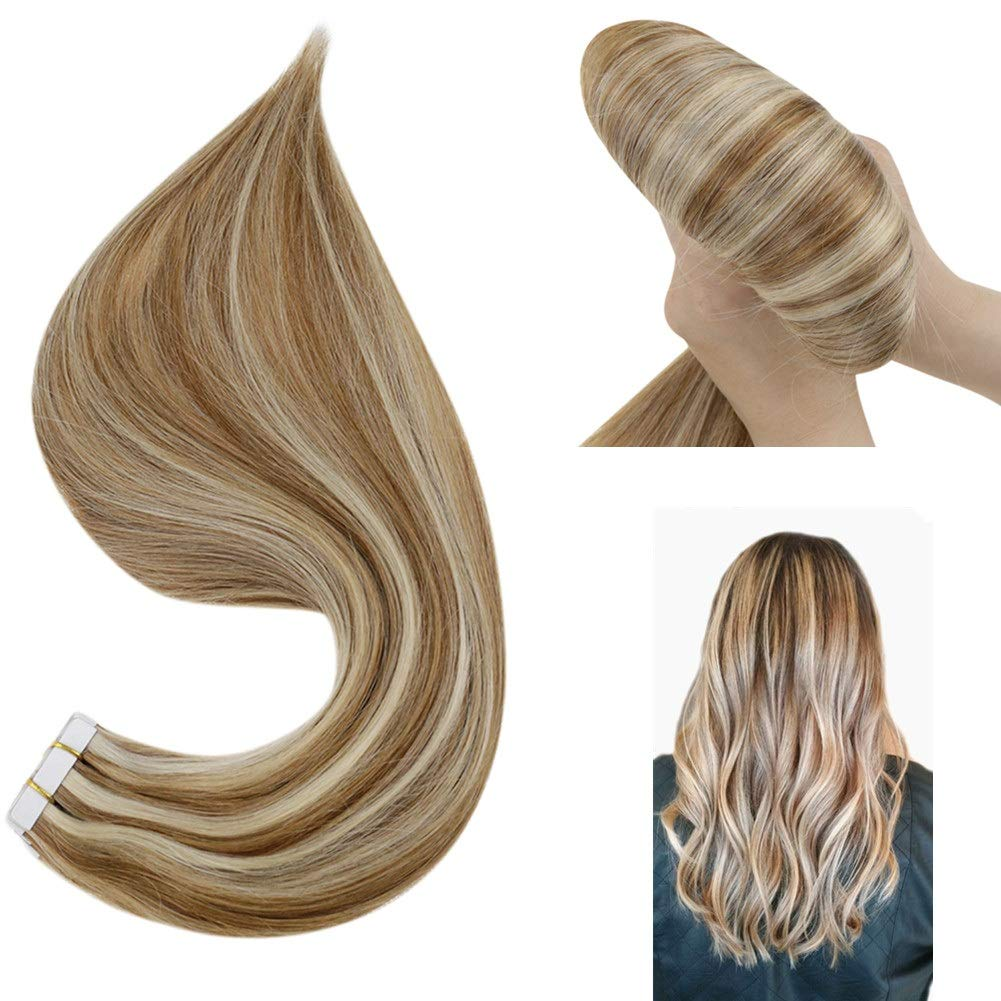 Hetto 24 Inch Tape in Hair Extensions Double Sided Real Remy Hair Human Skin Weft Hair Tape in Extension 20 Pcs 50G Color #6 Medium Brown and #60 Platinum Blonde