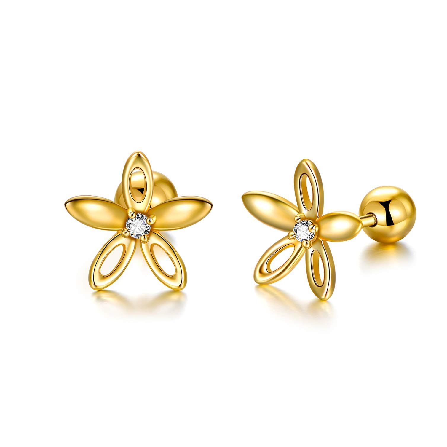 14K Solid Gold Flower Stud Earrings for Women, Dainty Yellow Gold Glamorous Flower Earrings for Sensitive Ear Fine Jewelry Gift for Women, Girls