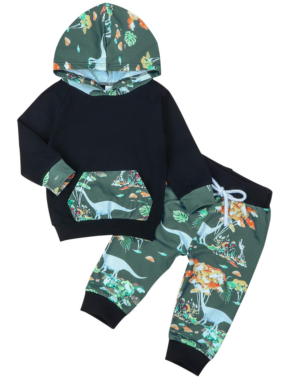 Toddler Baby Boy Clothes Dinosaur Long Sleeve Hoodie Sweatshirt and Pant Outfits Set