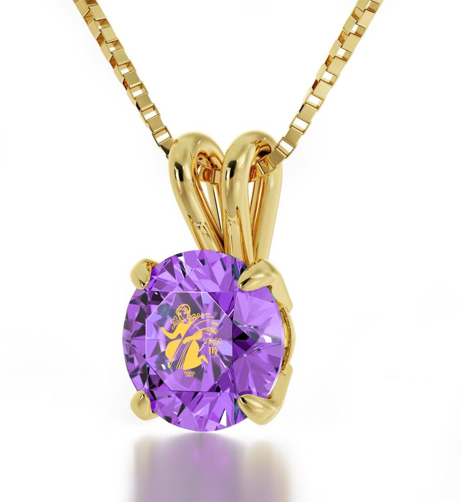 """Gold Plated Virgo Necklace Zodiac Pendant for Birthdays 23rd August to 22nd September 24k Gold Inscribed with Star Sign and Symbol on Solitaire Set Swarovski Crystal Stone, 18"""" Gold Filled Chain"""