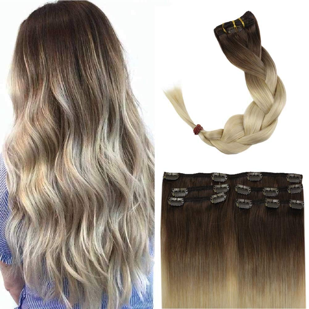 Full Shine 12 Inch Human Hair Extensions Clip In Ombre Balayage Color 7B Brown Fading To 613 Blonde Hair Extensions Clip In Real Hair 5 Pcs 80 Gram Hair Clip In Extensions For Women
