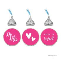 Andaz Press Chocolate Drop Labels Trio, Fits Hershey's Kisses, Wedding Mr. & Mrs, Fuchsia, 216-Pack, for Bridal Shower, Engagement Party Favors, Gifts, Stationery, Envelopes, Decor, Decorations