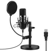 USB Condenser Microphone,Podcast Streaming PC Microphone Professional Computer Mic 192kHz/24bit Studio Cardioid Kit Plug & Play for Laptop MAC Windows Skype Youtuber Karaoke Gaming Recording