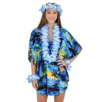 ISLAND STYLE CLOTHING Womens Short Kaftan Sunset Floral Beach Cover Up + Lei Set