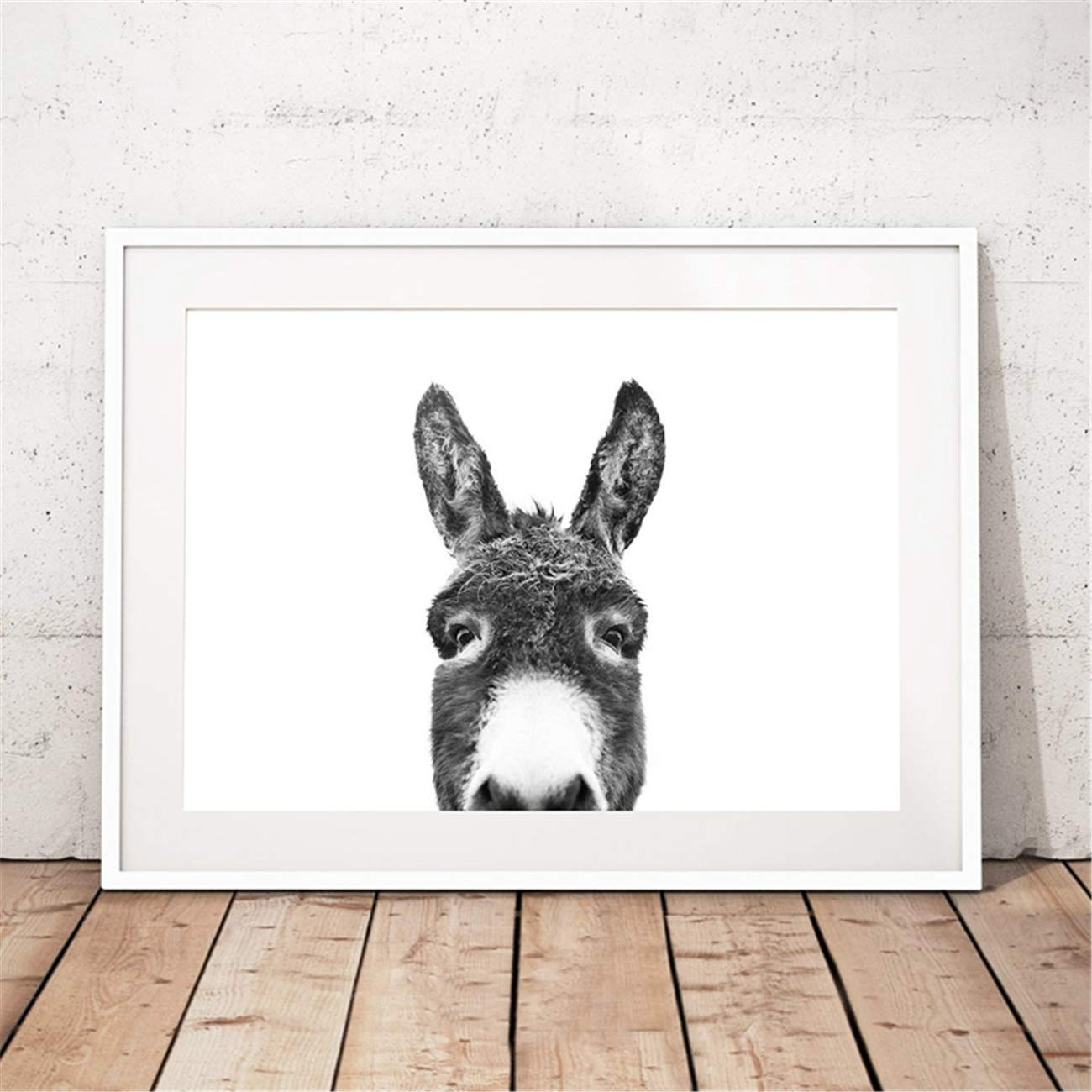 Canvas Wall Art Peekaboo Animal Face Donkey Print Poster Painting Picture for Living Room Bedroom Home Decoration Artwork No Frame 20x28inch