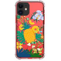 """HUIYCUU Case for iPhone 11 Case 6.1"""", Shockproof Anti-Slip Cute Glitter Clear Design Tropical Flower Pattern Slim Fit Soft Bumper Girl Women Cover Compatible with iPhone 11 XI, Pineapple"""