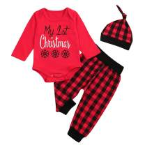 My First Christmas Baby Boy Girl Outfits Snowflake Long Sleeve Romper + Funny Pants + Hat + Headband Clothes Set