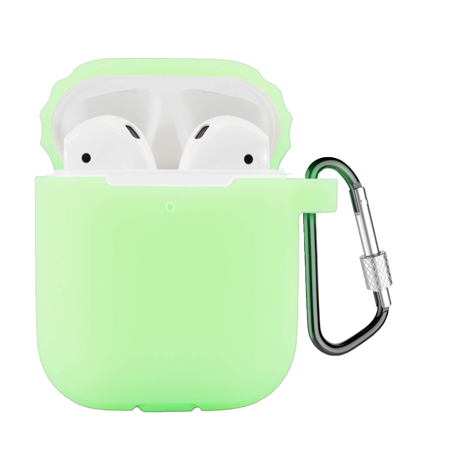 Compatible Airpods Case, Coffea Airpods Accessories Protective Silicone Case Cover and Skin with Carabiner for Airpods (Night Glow Yellow)