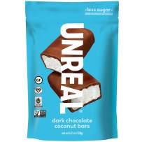 UNREAL Dark Chocolate Coconut Bars | Certified Vegan. Less Sugar, Gluten Free | 6 Bags