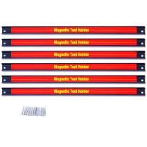 "Goplus 6PCS 18"" Magnetic Tool Holder, Organizer Racks Set, Metal Storage Organizer Bar for Garage/Workshops (Mounting Screws Included)"