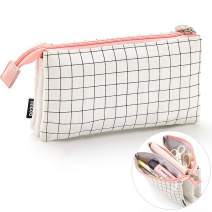 iSuperb 3 Layers Pencil Case Double Zippers Canvas Grid Stationery Pouch Pencil Holder Organizer Cosmetic Makeup Handbag