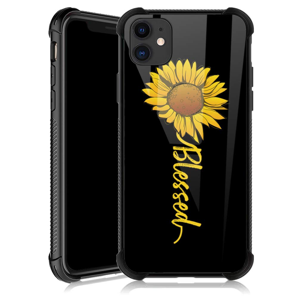 iPhone 11 Pro Max Case,Cute Sunflower Blessed iPhone 11 Pro Max Cases for Girls,Tempered Glass Back Cover Anti Scratch Reinforced Corners Soft TPU Bumper Shockproof Case for iPhone 11 Pro Max Yellow