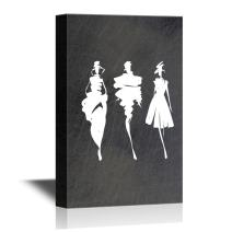 wall26 - Canvas Wall Art - Fashion Models Hand Drawn Silhouettes - Gallery Wrap Modern Home Decor | Ready to Hang - 12x18 inches