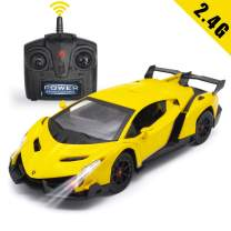 QUN FENG Remote Control RC CAR Racing Cars Compatible with Lamborghini Veneno 2.4G 1:24 Toy RC Cars Model Vehicle for Boys 6,7,8 Years Old,Yellow