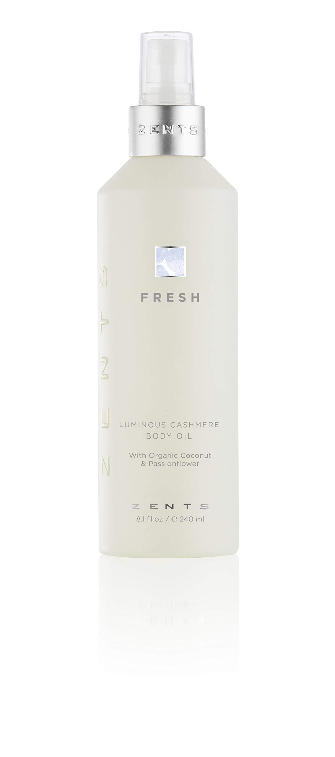 Zents Luminous Cashmere Body Oil, Soften and Moisturize Skin with Vitamin E and Organic Coconut Oil, 8 fl oz / 240 ml(Fresh)