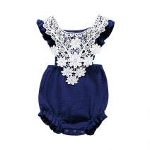 Ritatte Infant Newborn Baby Girl Romper Bodysuit Lace Cotton Outfit Ruffled One-Piece Romper
