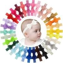 "WillingTee 30pcs Baby Girls Headbands 2.75"" Grosgrain Ribbon Hair Bow Hair Band Hair Accessories for Baby Girls Infants Toddlers Kids Newborns"