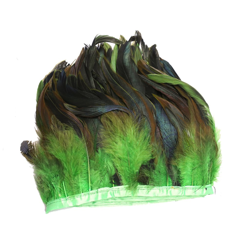 AWAYTR Rooster Feather Trim Width 5-7 inches Craft Feather Fringe Trim Pack of 5 Yards (Green)