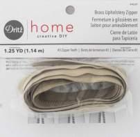 Dritz Home 44229 Brass Upholstery Zipper, 45-Inch, Beige