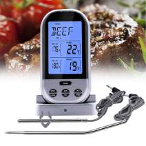 Aveloki Digital Meat Thermometer,Wireless Meat Thermometer for Grilling with Dual Probe Food Cooking Thermometer for Smoker BBQ Grill Thermometer(Silver)