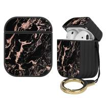Compatible with Airpods 1&2 Magnetic Striated Hard Plastic Full Body Protective Airpods Case Rose Gold Foil Black Marble Charging Cover with Ring - Black