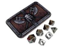Chrome Silver Metal Dice Shiny Chrome Color with Black Numbers, Solid Metal Polyhedral Role Playing Game (RPG) Dice Set (7 Die in Pack) with Dwarven Chest Dice Case by SkullSplitter Dice