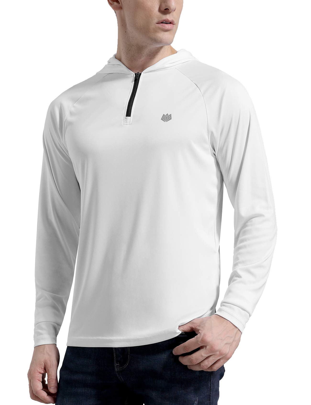 FitsT4 Men's UPF 50+ Sun Protection Hoodie Outdoor Long Sleeve Performance Quick Drying Fishing Shirts with Thumb Hole