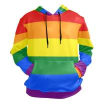 Rainbow Bisexual Pride Color Style Hoodie for Unisex Pullover Adult Long Sleeves Casual Thin Clothing