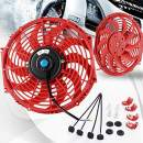 "12"" High Performance Electric Cooling Fan Push Pull Radiator Engine Slim Fan 12V 80W with Mounting Kit Red 12 Inch"