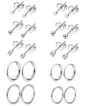 Vegolita 10Pairs Stainless Steel Tiny Stud Earrings for Women Men Hinged Hoop Earriings Sleeper CZ Ball Cartilage Helix Tragus Earrings