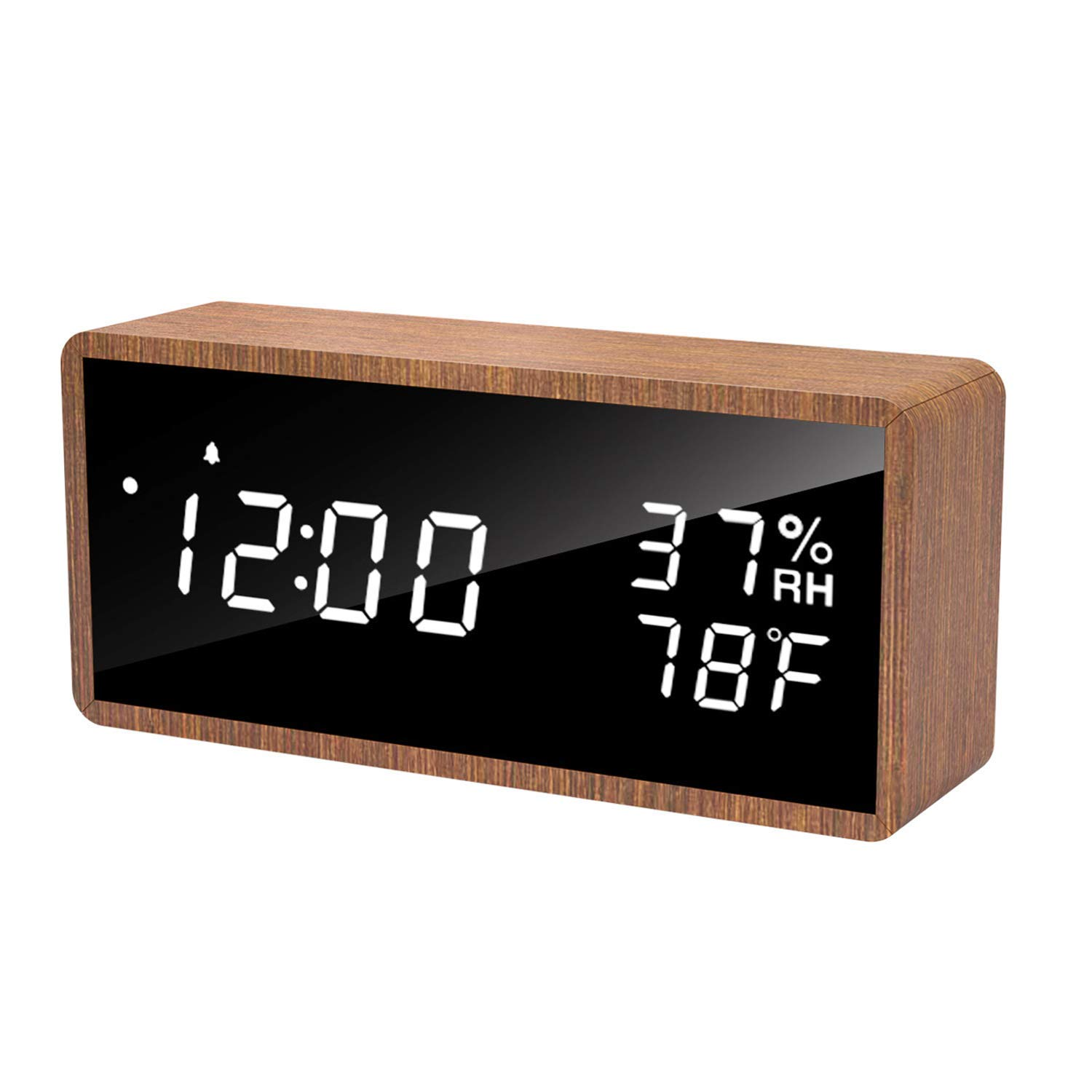 meross Digital Alarm Clock for Bedrooms, Real Wood, LED Display Desk Clock, Time Temperature Humidity, 3 Sets of Alarms, Adjustable Brightness, LED Sound Wake Up Function