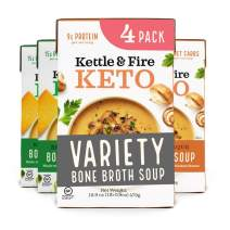 Keto Soup with Bone Broth Variety Pack by Kettle and Fire, Pack of 4, 2 Broccoli Cheddar, 2 Mushroom Bisque, Organic Vegetables, Diet Friendly Grocery Food, Snack, Drink
