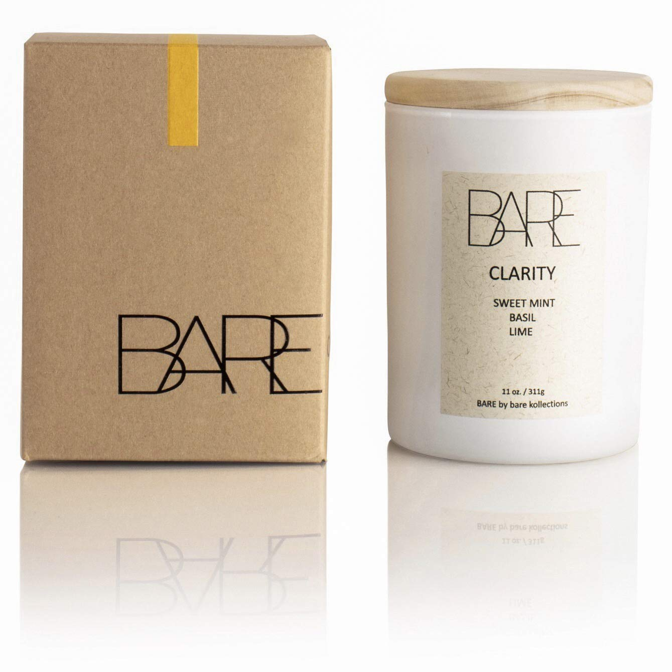 BARE KOLLECTIONS Clarity Candle Scented - 11oz Sweet Mint, Basil Lime, All-Natural Coconut Soy Luxury Jar Candle | Long Lasting | Aromatherapy Candle | Hand Poured