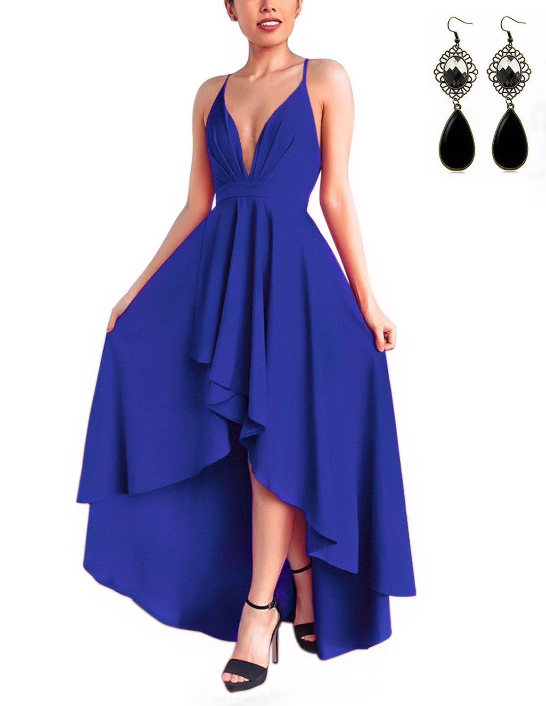 WAEKIYTL Women Sexy V Neck Asymmetrical Dress High Low Evening Party Dress Formal Prom