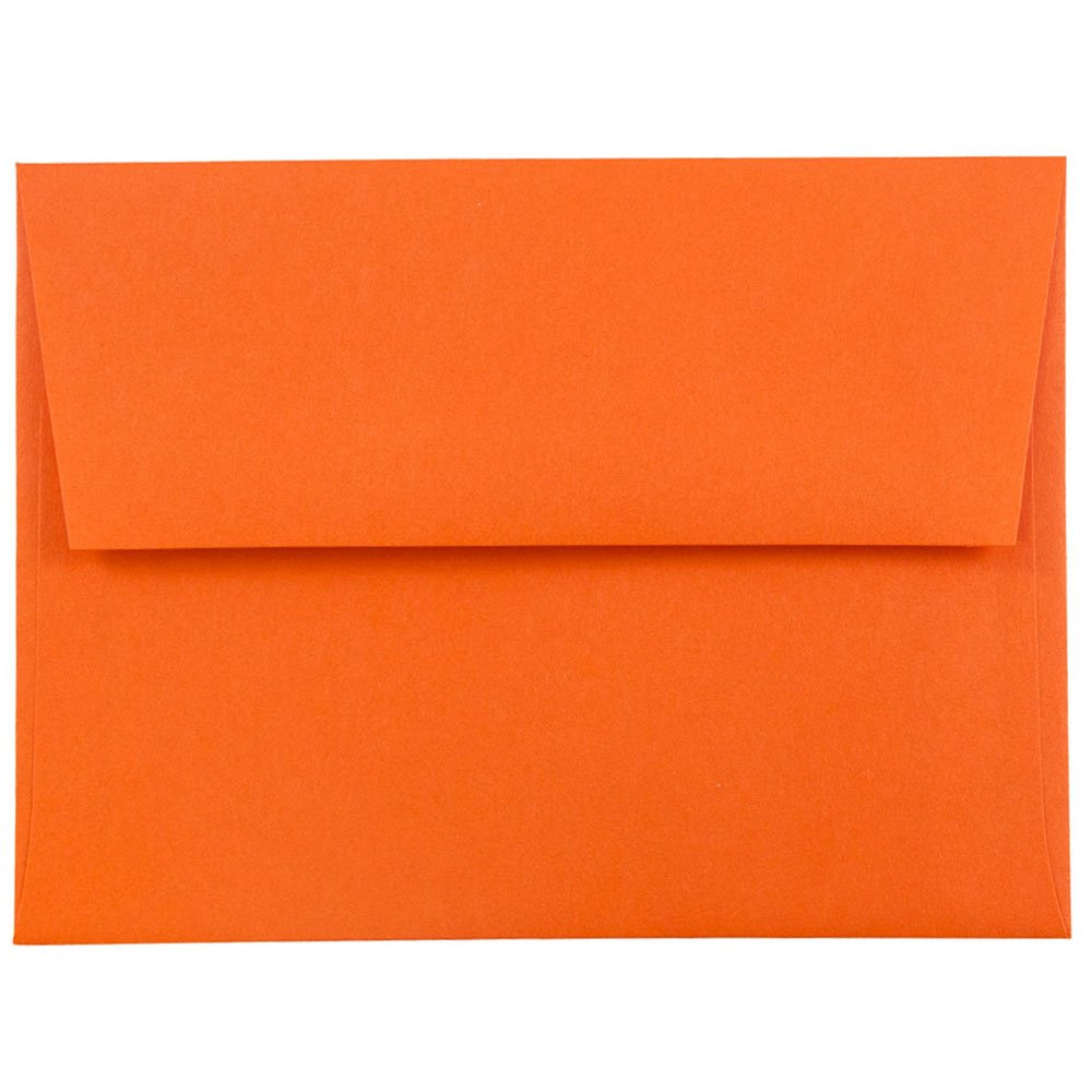 JAM PAPER A2 Colored Invitation Envelopes - 4 3/8 x 5 3/4 - Orange Recycled - 25/Pack