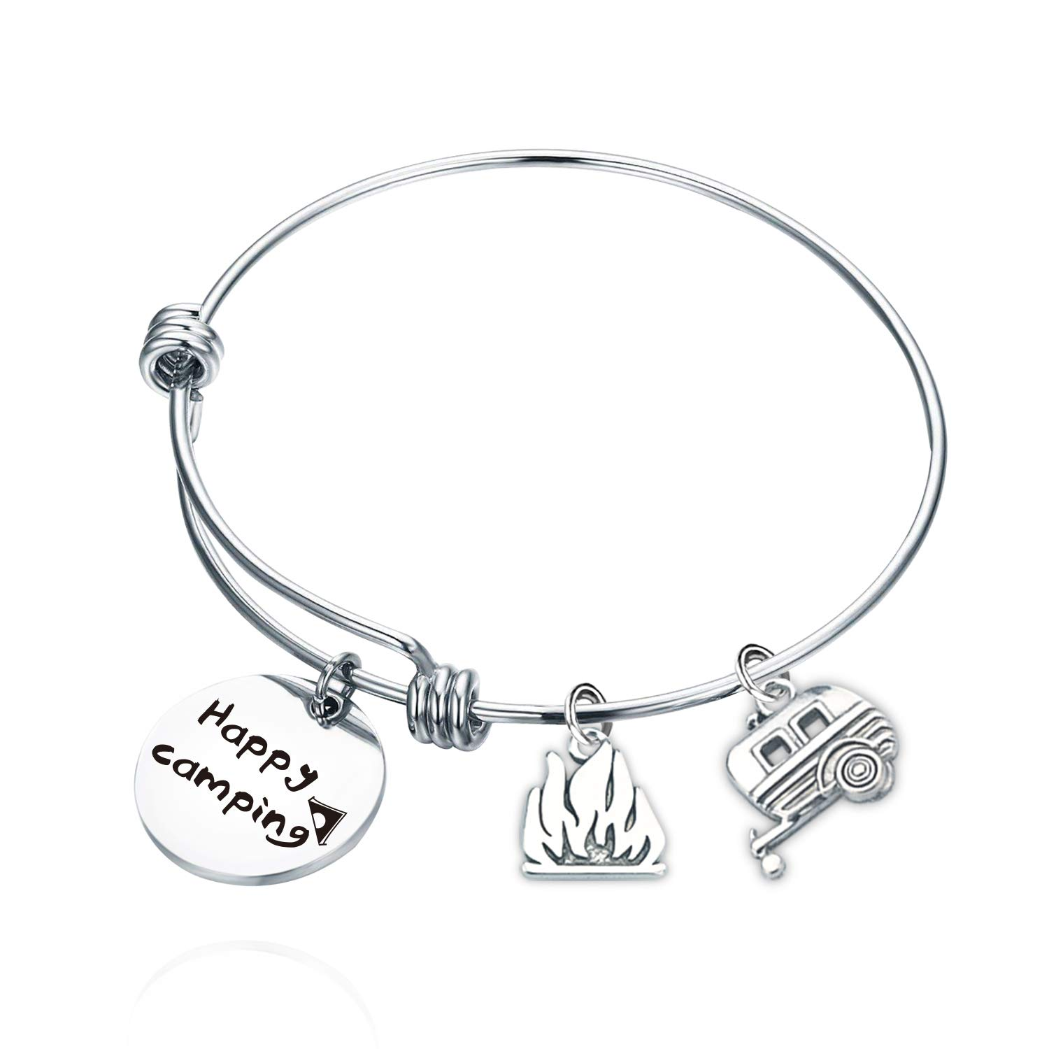 SIDIMELO Campers Gifts Funny Gifts Campers Bracelet Camping Lovers Gifts Happy Camping Jewelry Trailer Vacation Jewelry Happy Camping Bracelet